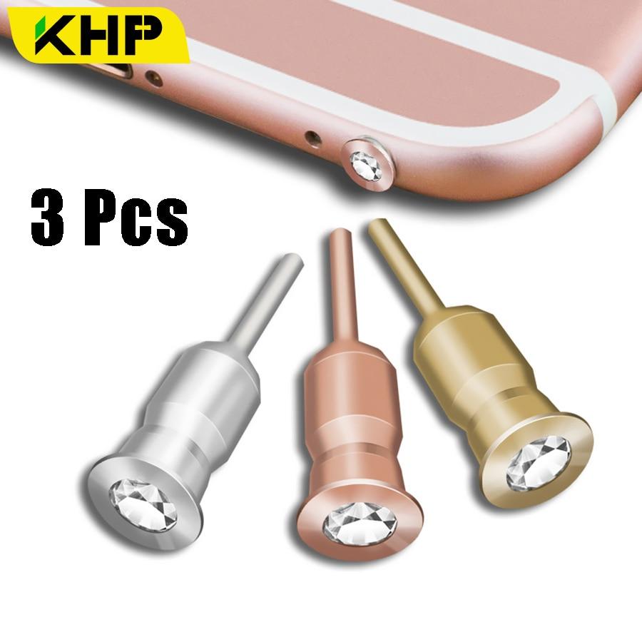 KHP 3 Pcs Metal Diamond 3.5mm Anti Dust Plug For Phone Accessories