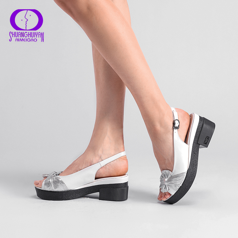 AIMEIGAO Summer Wedges platform Women Sandals Square Thick Heel PU leather Shoes Soft Bottom Mixed Colors Shoes For Women