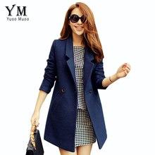 YuooMuoo 2016 Autumn Winter Coat Women Wool Coat Female Overcoat High Quality Brand Medium Long Blue Woolen Jacket Women Coat