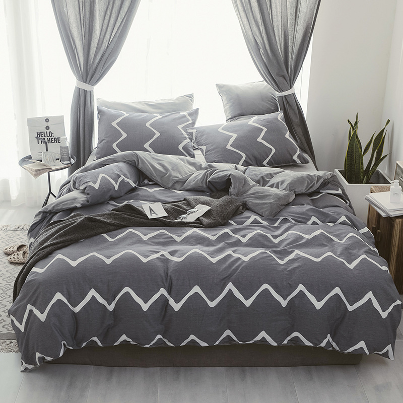2018 Winter Thickening  AB Side Bedding Sets Stripe Printed Duvet Cover Set 4pcs Bed Clothes Adult Bed Set Man Duvet Flat Sheet 2018 Winter Thickening  AB Side Bedding Sets Stripe Printed Duvet Cover Set 4pcs Bed Clothes Adult Bed Set Man Duvet Flat Sheet