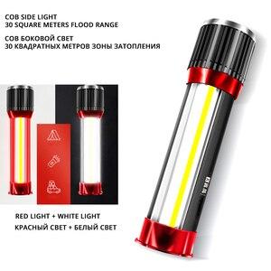 Image 3 - Linterna LED giratoria telescópica con zoom, luz lateral recargable, para acampada, carga teléfono