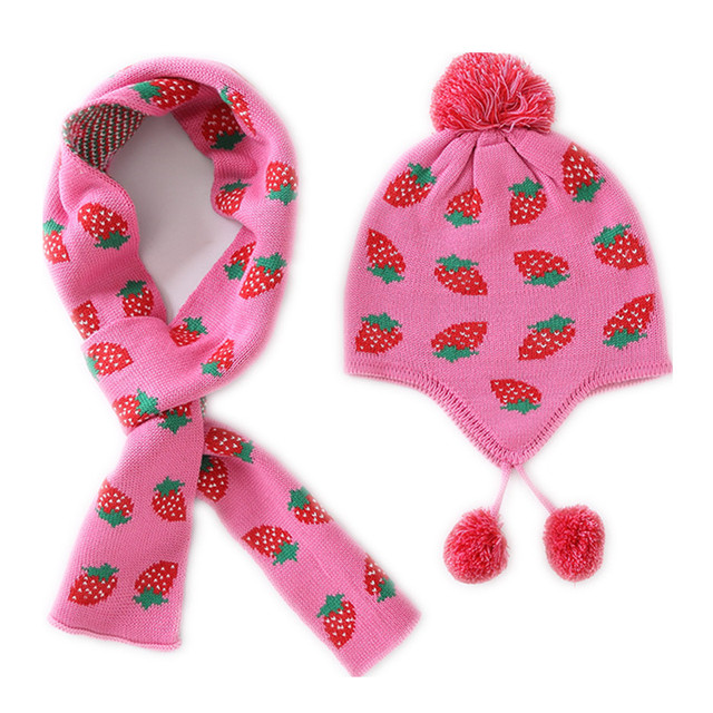 a77a565f9a1 baby   kids girls strawberry hat scarf set children girl fashion autumn  winter cute knitted beanie hat with scarf 2 pieces sets