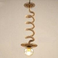 American Iron Industrial Glass Pendant Lamp Loft Retro Enchants Bean Wave Network Cafe Single Head Rope