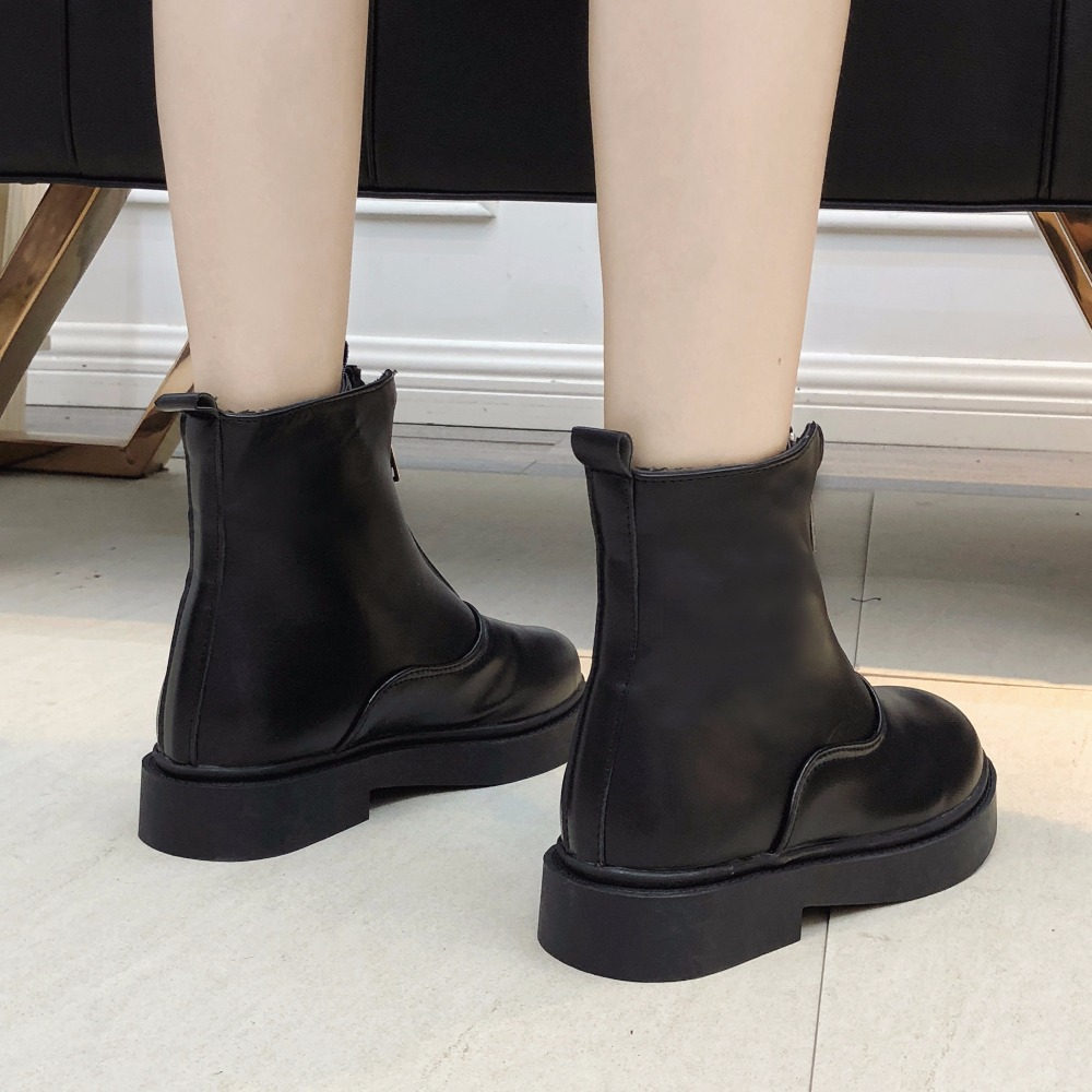 Mujer Redonda Tobillo 2019 De Calzado Negro Caminar Moda Cremallera Simple Llegada Invierno Botas Peluche Cabeza Damas Clásico wT0TBvXq
