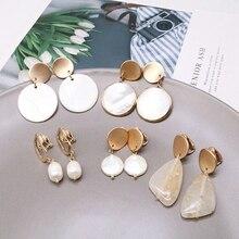 Free Shipping Cute Shell Pearls Geometric Clip Earring