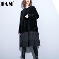 [EAM] 2019 New Spring Winter Round Neck Sleeve Black Velour Hem Lace Pleated Chiffon Big Size Loose Dress Women Fashion JI966
