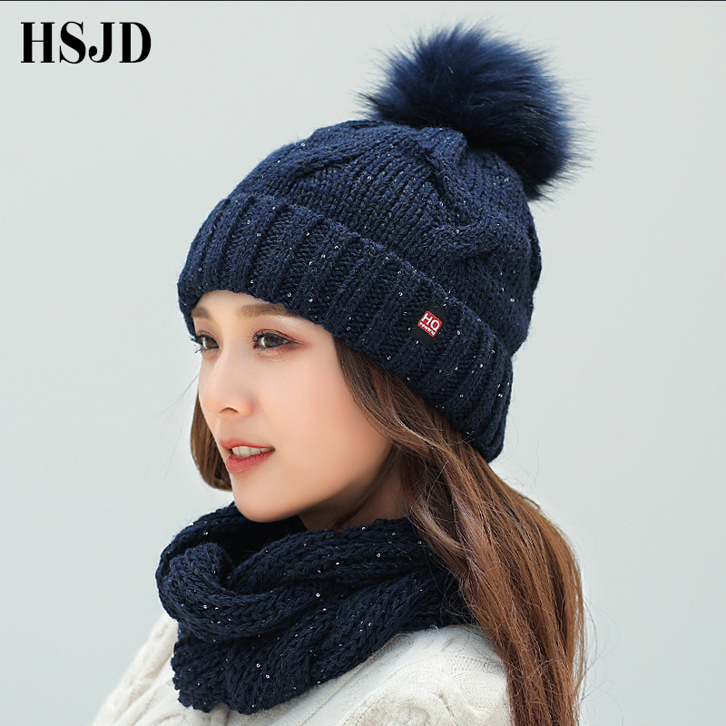 2018 Winter Fashion Sequins Knitted Hat Scarf Set Pompom   Beanies   Hat For Women brand new thick   skullies   Warm neck female cap
