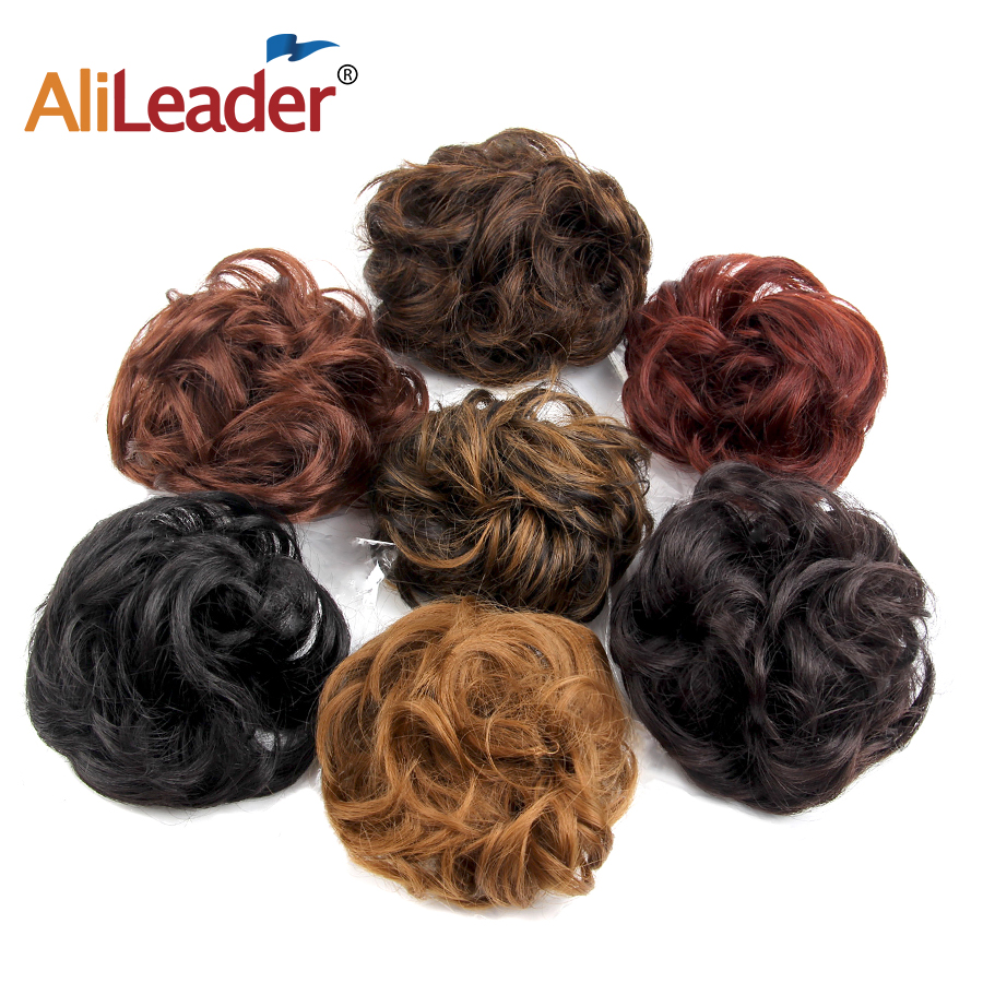 Alileader Beauty Girls Curly Scrunchie Chignon Hair Bun Synthetic Wave Hair Elastic Ring Wrap For Hair Bun Ponytails 7 Colors