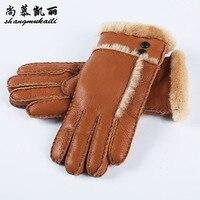Real Fur Gloves For Women Mittens Sheepskin Solid Women Woolen Cashmere Winter Glove Sheep Fur Mittens