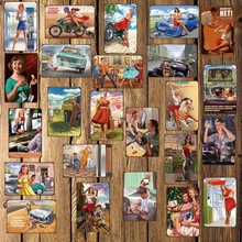 [ Mike86 ] Pin up Russia Sexy Girl Metal Sign Wall Plaque Poster Home Retro iron Painting art Christmas Gift Decor Art FG-511