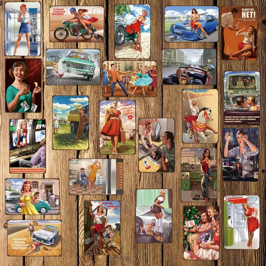 [Mike86] Pin up России сексуальная девушка металлический знак настенная доска плакат домашние рисунок на железной поверхности в стиле ретро art Рождественский подарок декор Арт FG-511