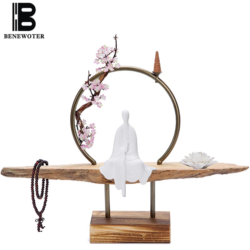 Chinese Style Zen Ceramic Desktop Ornaments Creative Metal Circle Backflow Incense Burner Aromatherapy Burners Living Room Decor