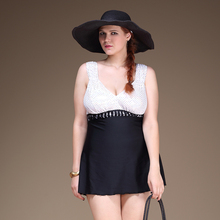 Plus Size One Piece Woman Swimsuit Big Size Skirt Design Bathing Suit Black and White Decorated Top  Swimwear 4XL Size