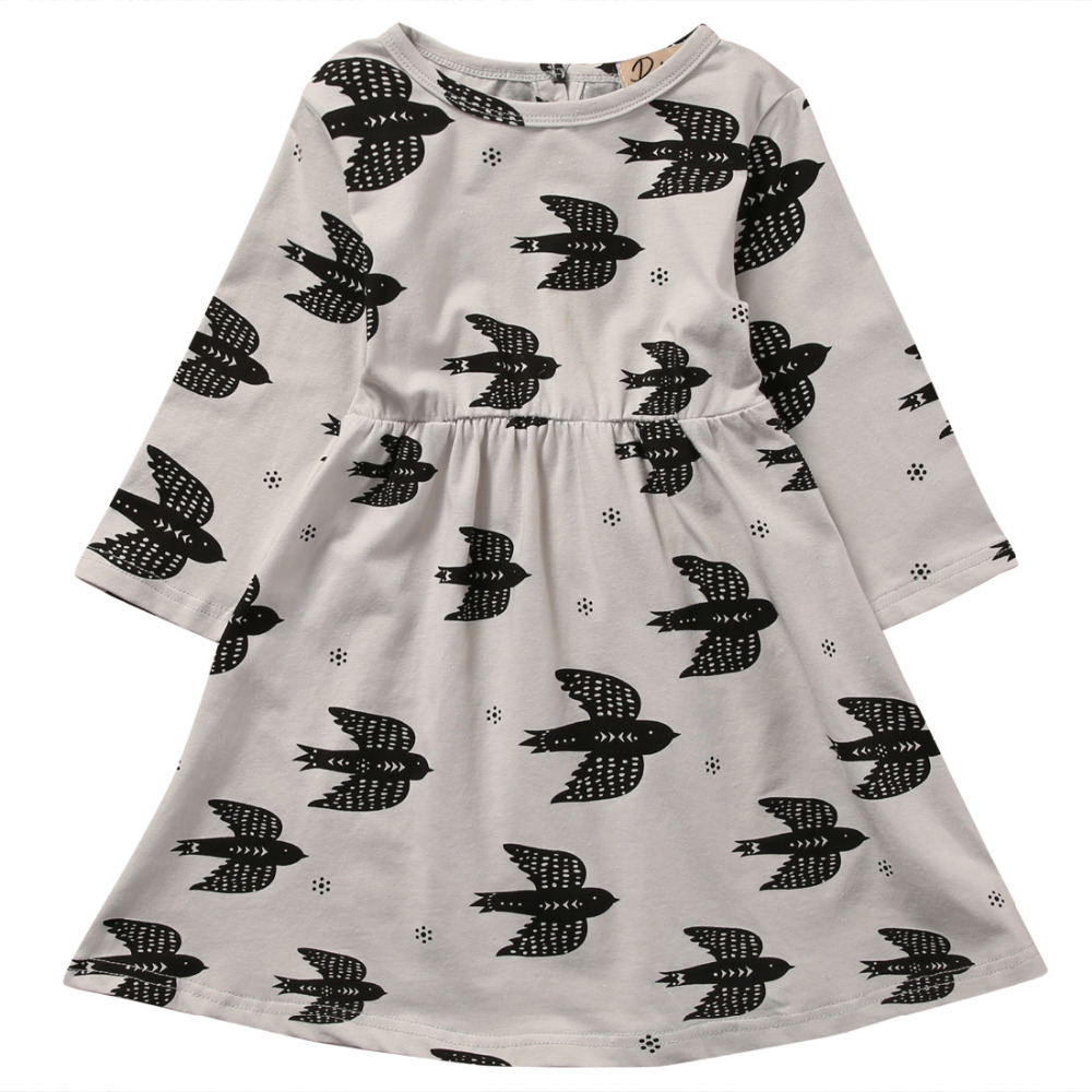 Toddler Infant Kids Baby Girl Bat Long Sleeve Dress Wedding Party Casual Dresses Summer Sundress
