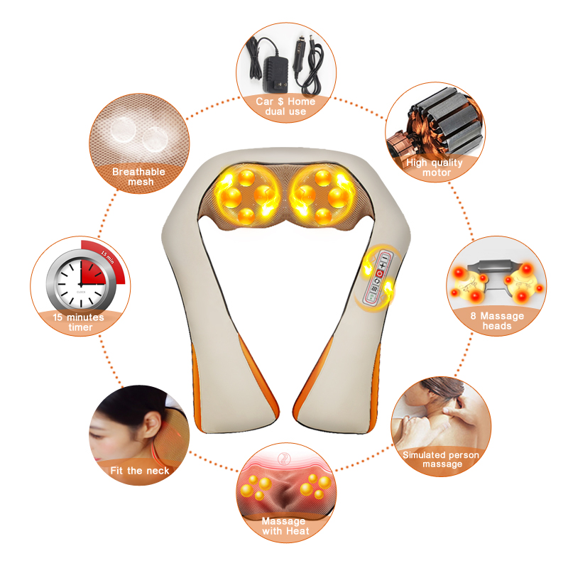 (with Gift Box) KLASVSA Electric Heating Neck Massager Car Home Infrared KneadingTherapy Ache Shoulder Back Massageador Relax 2