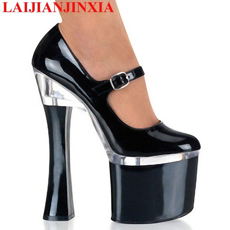 LAIJIANJINXIA New Ladies Shoes White Heels Square High Heels 18Cm Ankle Straps 8Cm Thick Platform Shoes Ladies 2018 Novelty Shoe - 2