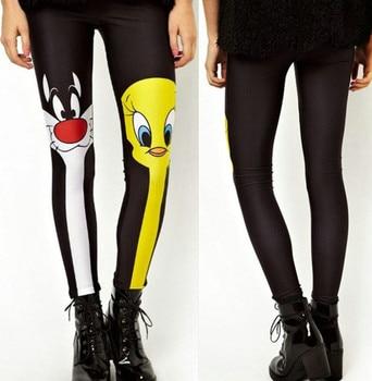 Fashion Women Leggings Galaxy Painted Cat & Duck Leggings High Elastic Women Black Pants Free Shipping 2