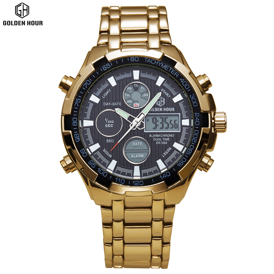 2017 Top Luxury brand famous Quartz Wristwatch Men Analog Digital Watches Led Full Steel Clock Men Military Watch reloj hombre lacywear dg 258 ysp