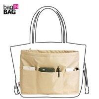 Handbag Pouch Bag In Bag Organiser Insert Organizer Tidy Travel Cosmetic Pocket Zipper Brown Business