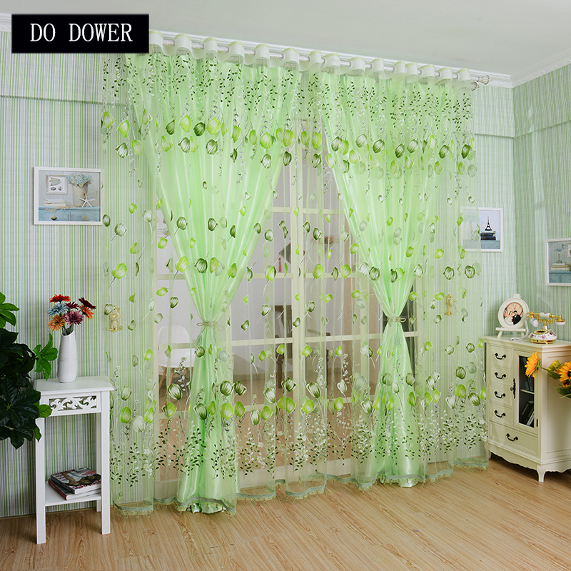 Bedroom curtains Tulip Pattern Rod Type Voile tulle Curtain for the Living Room Sun-shading Sheer Drape curtians Green Color