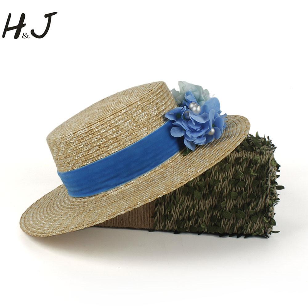 100% Weizenstroh Frauen Breiter Krempe Sonnenhut Mode Dame Sommer Flache Sunbonnet Boater Strand Hut Mit Blaue Blume Dropshipping Weich Und Rutschhemmend