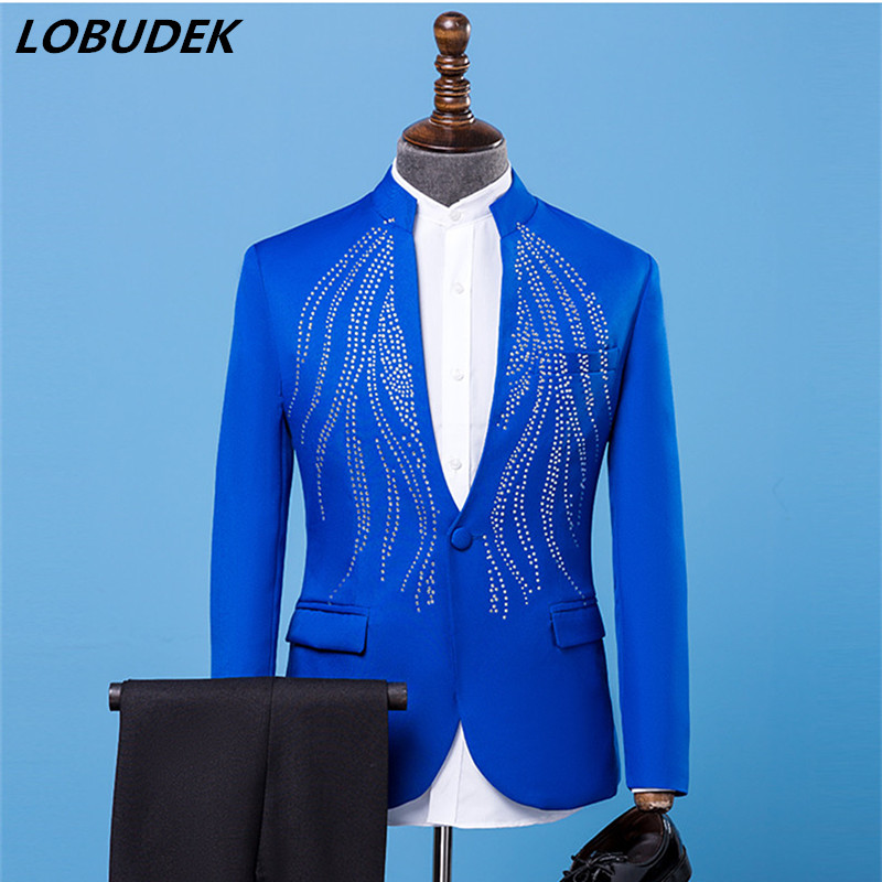 (jacket+pants) Formal Men Suits Blue Rhinestones Suit singer Chorus Prom Compere Master for Wedding Host performance Costumes
