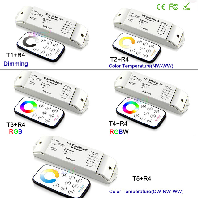 Bincolor wireless remote dimming/CCT/RGB/RGBW/CW CCT led dimmer Receiver controller set for LED Strip Light lamp,DC12V-24V