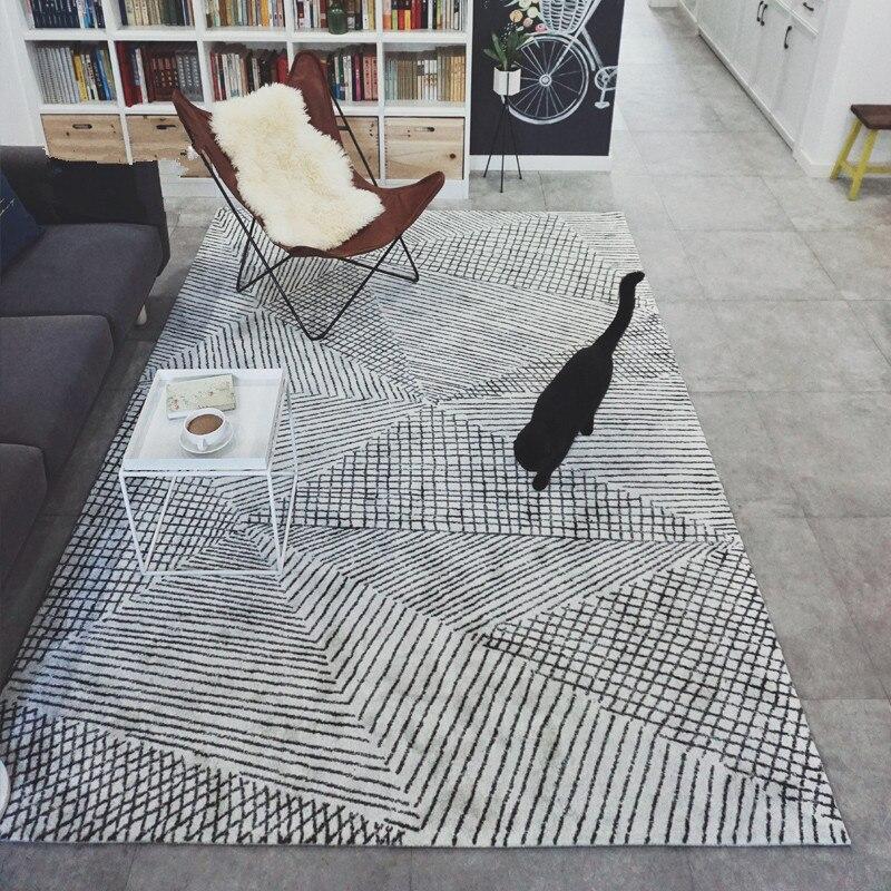 Modern Geometry Carpet Livingroom Home Decor Bedroom Carpet Thick Nordic Acrylic Rug Sofa Coffee Table Floor Mat Study Room Rugs Home & Garden