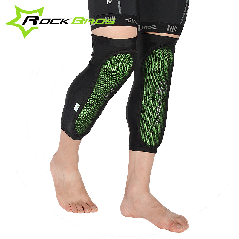 RockBros Green Knee Protector Bicycle Knee Pads Outdoor Sport Cycling Knee Caps MTB Mountain Bike Anticollision Calf Pads 2015
