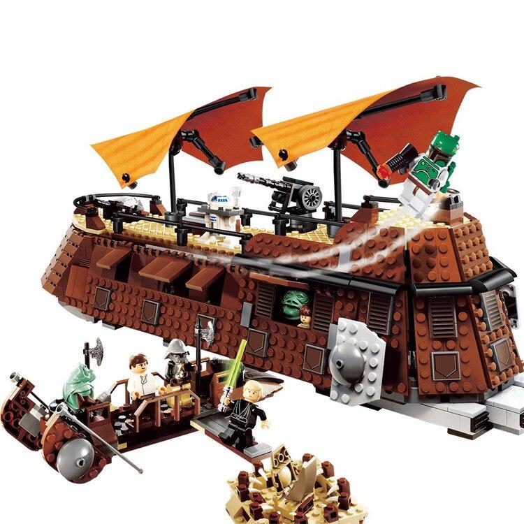 05090 Star Space The Jabba`s Sail Barge Sailing Ship Set Building Blocks 821pcs Bricks Toys Kids Gift Compatible 6210 star wars 821 stucke lepin 05090 echten kuhlen die sail barge set kinder padagogische bausteine spielzeug modell 6210
