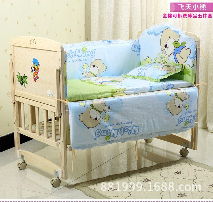 Promotion! 6PCS Bear Baby Bedding Bed Around Bed,Children Crib Bedding Set for Summer (3bumper+matress+pillow+duvet)
