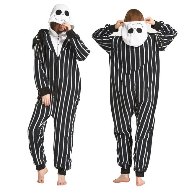 c04818fa3 Skeleton Halloween Costume Adult Kigurumi Onesie Women Men Polar ...