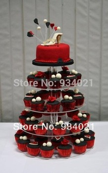 Round 5 Tier Transparent Acrylic Cup Cake Stand/ Cake Stands For Wedding Cakes