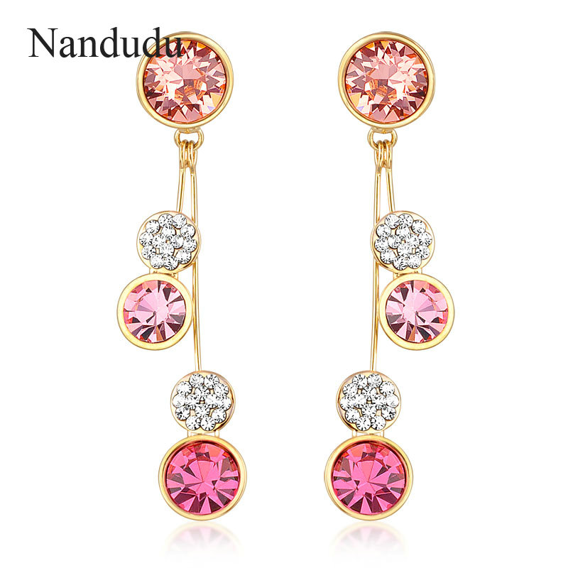 Nandudu Colorful Austrian Crystal Drop Earrings Woman Circle Dangle Earring Accessories Jewelry Gift E624 E625 E626