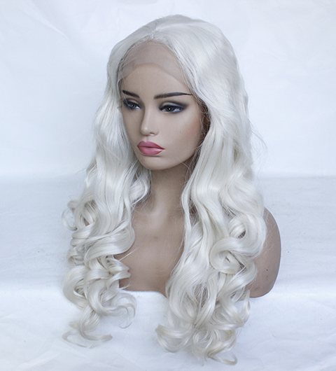 Fashion Platinum Blonde Synthetic Lace Front Wigs Heat Resistant Long Loose Body Wave White Blonde Wigs Cosplay for White Women-16