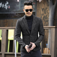 Spring Color Thick Fabric Mens Suit Slim Casual Suit Jacket F274 Dark Metrosexual Man