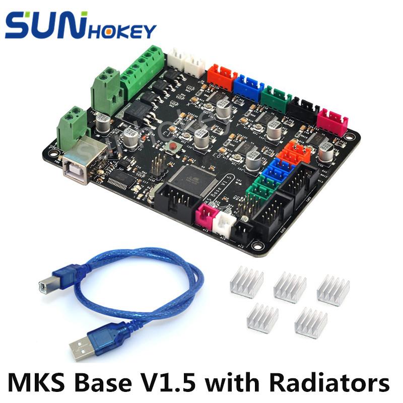 Prix pour 3D Imprimante Pièces Sunhokey Haute Qualité 12 V MKS Base V1.5 Carte Mère Avec USB et Radiateurs/Dissipateurs pour 3D imprimante