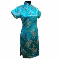Lake Blue Plus Size 4XL 5XL 6XL Chinese Female Traditional Dress Women Summer Satin Qipao Short