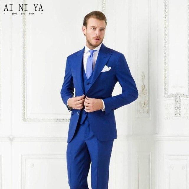 2018 Hommes Costume D affaires Slim Fit Classique Mâle Costumes Blazers  Deux Boutons 3 pièces 5c833e28b7c
