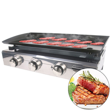 GZZT BBQ Grill Gas CE Plancha 3 Burners LPG Outdoor Steel Enameled Cast Iron Camping No Fire Easy Clean