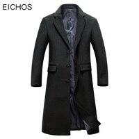 EICHOS ארוך גברים Mens חורף מעיל צמר תעלת מעיל אופנה עסקים של גברים אפונה מעיל ארוך בכושר רזה NZY1851