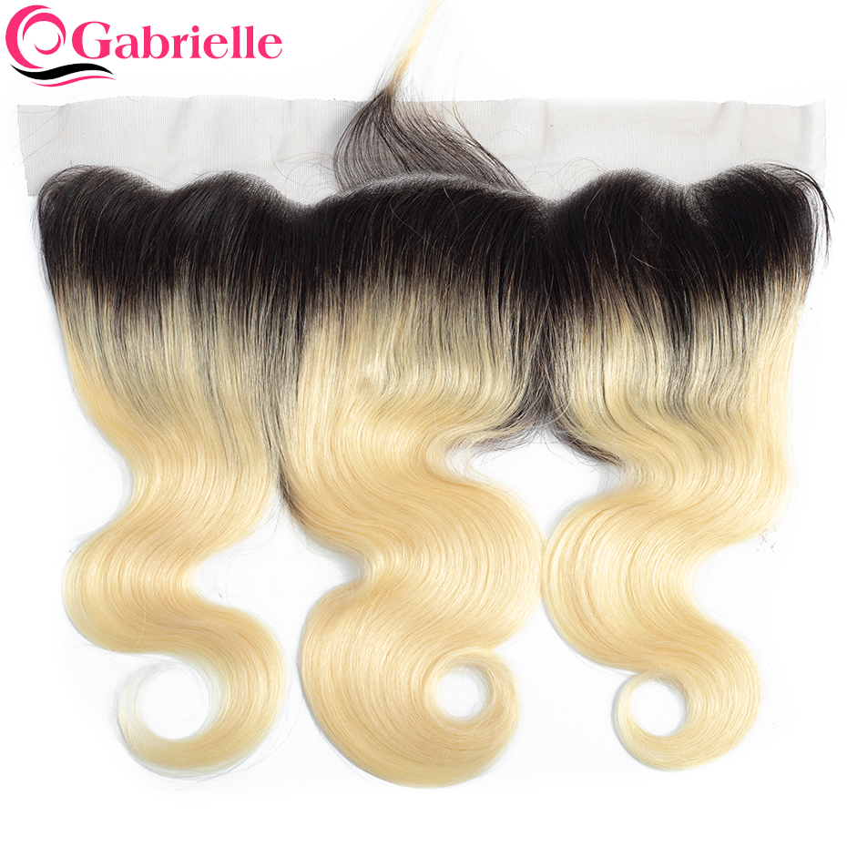 Gabrielle Brazilian Body Wave Lace Frontal Closure 13x4 Ombre Hair T1b 613 Blonde 100 Remy Human