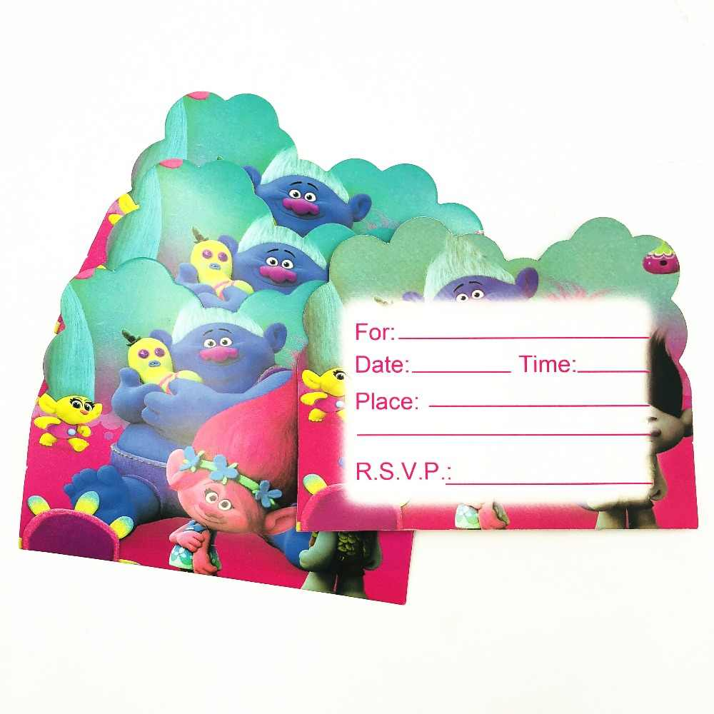 10pcs Trolls Baby Shower First Birthday Party Invitations Ideas Partyware Decoration Girls Trolls Birthday Party Invitation Card