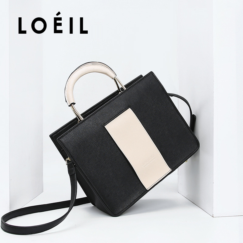 LOEIL Contrast bag 2018 new leather handbags Europe and the United States fashion shoulder Messenger bag