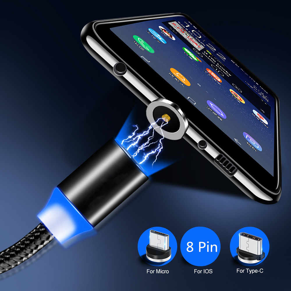 Untuk Samsung Galaxy A50 A20 S9 S8 Bluboo Maya Max OnePlus 7 Pro Ponsel Kabel Magnetik Tipe C USB LED lampu QC 3.0 Cepat Charger Mobil