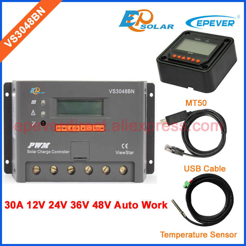 PWM new controller for solar panel system use with USB cbale and temperature sensor VS3048BN 30A 30amp MT50 meter vs3048bn 30a 24 48v auto pwm controller network access computer control can connect with mt50 for communication