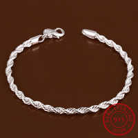 Lekani 925 Sterling Silver Fine Jewelry For Women And Men 4mm Chain Charm Flash Twisted Rope Bracelet Pulseiras De Prata Jewelry
