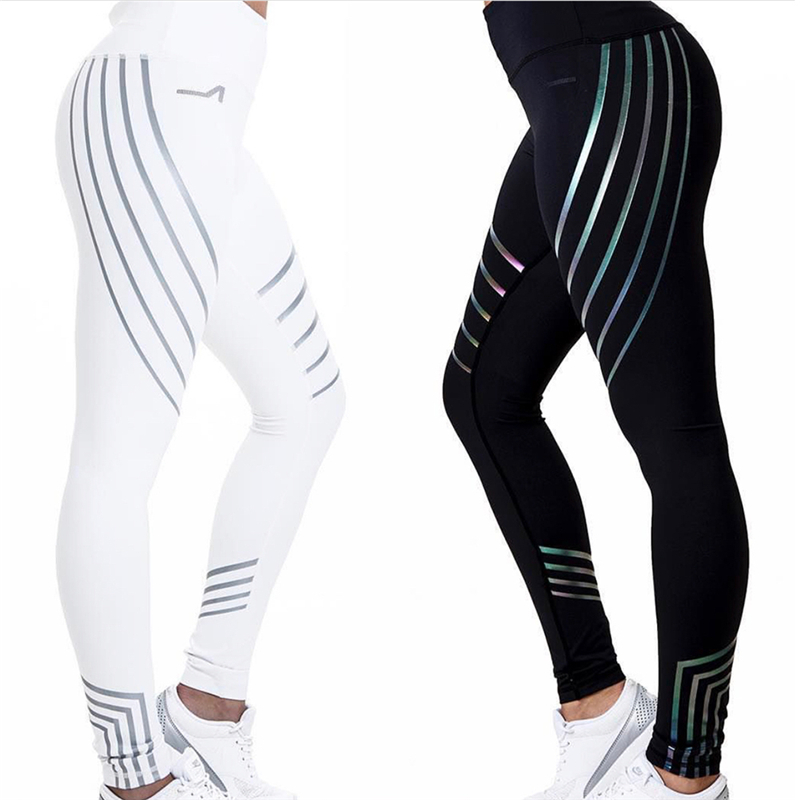Women Leggings Sports Pants Sexy Laser Printing Stretchy Training Trousers Quick Dry Slim Body Professional Yoga Length pants