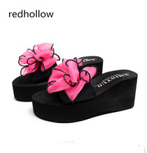 Bowtie Woman Beach Flip Flops Summer Sandals Wedges Slip- Resistant Slippers Platform Sandals Women Shoes High Heels Comfort big bowtie woman beach flip flops summer sandals slip resistant slippers platform sandals size 34 40