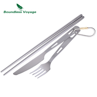 Boundless Voyage 3pcs Titanium Fork Titanium Spoon Titanium Chopsticks Ultralight Ti1529B